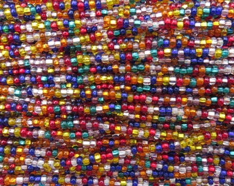 6/0 Transparent Silver Lined Color Mixed Czech Glass Seed Bead Strand (CW179)