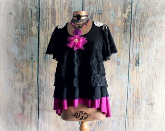 Tiered Layered Top Black Lace Blouse Purple Ruffles Lace Trimmed Bohemian Shirt Gypsy Clothing Upcycled Fashion Fancy Evening Top L 'HARMONY