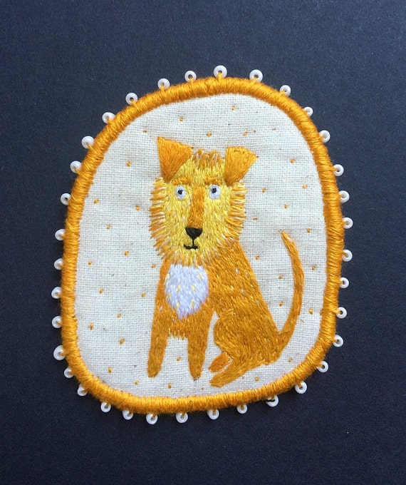 """Textile Pet Portrait Brooch - """"Leo"""" -  Funny Dogs - collection, hand embroidered textile dog jewelry"""
