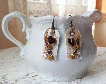 Handmade Mixed Media Assemblage Small Tag Earrings, Pierced, Embellished Pearl, Vintage Purple Glass Heart, Lace, Boho, Victorian, Steampunk