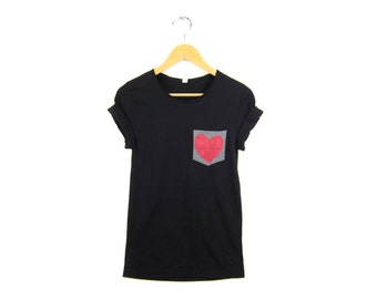 Heart in my Pocket Tee - Boyfriend Fit Scoop Neck Tshirt with Rolled Cuffs in Black and Heather Grey - Women's Size M-3XL