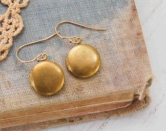 LOCKET EARRINGS Gold Round Mini Brass Rustic Dainty Tiny Bohemian