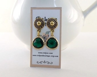 Emerald and Gold Earrings - Post Earrings - Antique Gold Earrings - Teardrop Earrings - Small Earrings - Bride Earrings - Elegant - E093