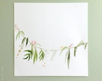 "ORIGINAL PAINTING - Watercolor floral garland painting - Art - 7.5"" x 7.5"" - green vine"