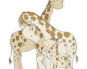 Giraffe Nursery Art Print -- One Big Happy Family