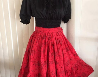 Sale Vintage Novelty Print Full Skirt - Southern Scene with Steamboats, Trains and Cabins - Size S-M