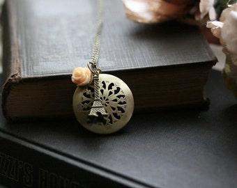 Gold locket necklace ,  keepsake jewelry locket , filigree locket , paris inspired necklace , perfume locket , bridesmaid necklace - Amelia