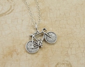 Bicycle Necklace, Sterling Silver Bicycle Charm on a Silver Cable Chain
