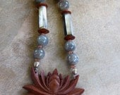 Carved Lotus Necklace Indonesian Rosewood Flower with Labradorite Mother of Pearl and Sunstone Bali Eternity Lotus Ethnic Jewelr