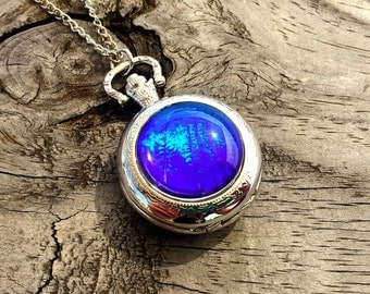 Real Butterfly Jewelry Pocketwatch Necklace Blue Morpho Wing Working Pocket Watch Pendant Vampire Diaries Steampunk Statement Necklace