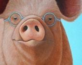 Pig - Pig Art - Pig Print - Pig with Glasses - Mr Magoo - Funny Animal Art - 10% Benefits Animal Charity