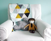 Modern Geometric Baby Quilt in Mint and Multi Color Triangles for Boy or Girl – Reversible