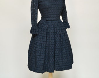 Vintage 1950s Party Dress...Midnight Black Eyelet Party Dress