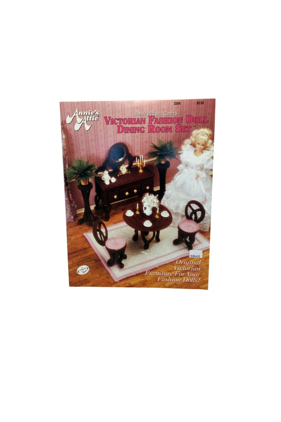 Vintage Fashion Doll Furniture Plastic Canvas Book Victorian
