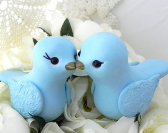 Love Birds Wedding Cake Topper, Sky Blue, Bride and Groom, Keepsake, Elegant, Choose Your Colors