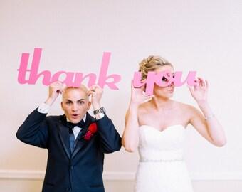 Thank You Signs for Wedding Photos, DIY Thank You Cards Photo Props, Wooden Words for Wedding Photography & Decor (Item - TYU100)