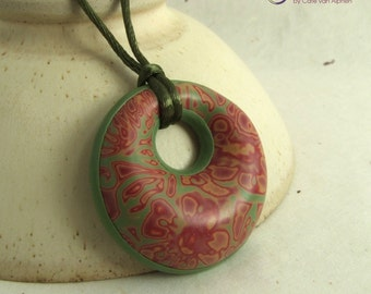 Floral red and green pendant on adjustable olive green satin cord necklace, handmade polymer clay statement piece