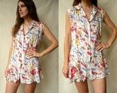 1990's Vintage Grunge Floral Print Shirt/ Micro Mini Dress