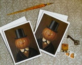 Pumpkin Cards - Pumpkin Man Notecards - Halloween Cards - Victorian - Jack-O-Lantern - Gentleman Pumpkin - Gothic