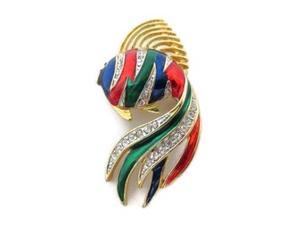 tropical rhinestone fish brooch, multi color, gold tone trim, nautical ocean fish pin, beach wedding, exotic fish brooch