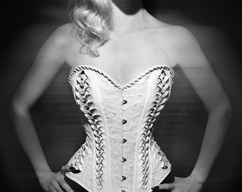 Handmade overbust fashion Sylphe corset with plastic silver detail on feather velvet and PVC fabric