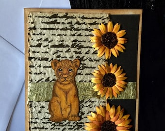 Card fancy card hamdmade Lion cub with sunflowers birthday and many occasions
