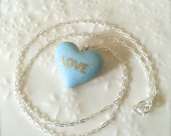 New York Sky Blue Heart With 22k Gold Love, Sterling Silver Necklace, Porcelain Necklace, Modern Jewelry, Porcelain Jewelry, Gift for her