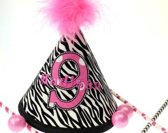 Pink Zebra Fabric Birthday Hat