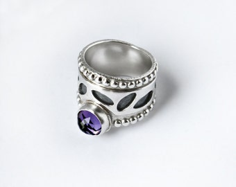 Amethyst Silver Leaves Ring Sterling Silver Wide Band Art Jewelry Crown Ring