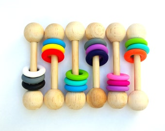 Wooden Baby Rattle Teething Toy Montessori Inspired CHOOSE COLORS Personalize Option