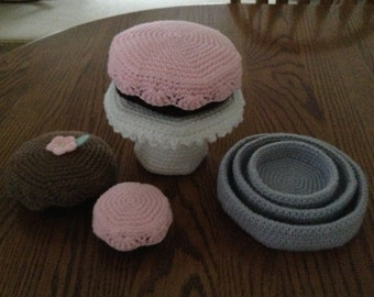 Crochet Three Tier Cake Set, Made to Order