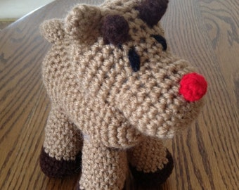 Crochet Rudolph the Red-Nosed Reindeer, Made to order