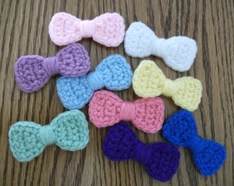 Little Bow Crochet Hairpins, 4 for 8 dollars, Made to Order