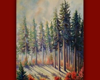 In the Clearing - Original Oil Painting, trees, landscape, sky, field, signed by the artist