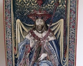 French Hand Painted Tapestry Le Roi David The King David Reproduction From The Original XV1 Century 40 by 56 Inches