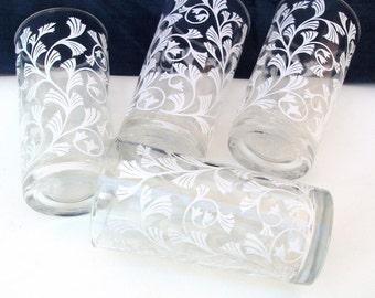 Vintage Drinking Glasses, White Bar Glasses, Tumblers, Wedding Decor - Set of 4