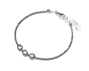 Personalized Silver Initial Love Heart Bracelet Dainty Friendship Alphabet Bead Jewelry Romantic Gifts For Women Christmas Stocking Stuffers