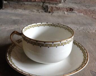 Antique Teacup Albany by Haviland & Co Limoges Flat Cup / Saucer Greek Key Schleiger 107a ~ #11007