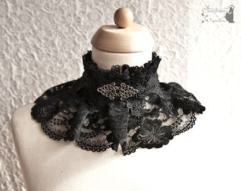 Collar lace, Victorian, Steampunk noir collar, romantic goth, black, Maeror, Somnia Romantica, size large. see item details for measurements