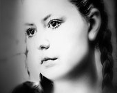 Black white blue tint,  portrait of a young woman, original fine art print,