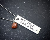 Custom Crystal Mantra Necklace- One Love One Heart