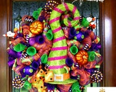 READY TO SHIP! Whimsical Light Up Witch Hat Luxe Wreath