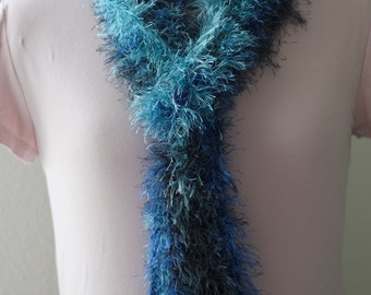 Blue Fun Fur Long Scarf