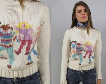 Vintage 80s Knit Sweater, Slim Fit Sweater, Novelty Sweater, Printed Sweater, Fitted, Crop Waist Sweater, Jumper Δ size: xs / sm