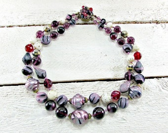Vintage WESTERN GERMANY Beaded Necklace, White Red Purple Glass Bead Necklace, Double Multi-Strand Layered Necklace, 1960s Costume Jewelry