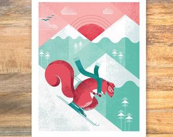 Snow skiing squirrel // woodland animals // baby nursery decor // children