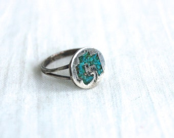 Chip Turquoise Ring Sterling Silver Size 6.5 Vintage Mexican Tribal Circle Ring