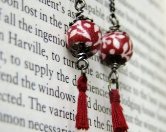 Red tassel and fabric bead drop earrings