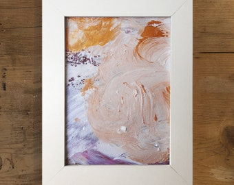 Abstract framed painting, gold, white, pink, white framed, ready to hang, mixed media, original on paper