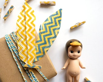 Mini Pegs - Set of 8 - Zig Zag Blue & Yellow Wooden Pegs